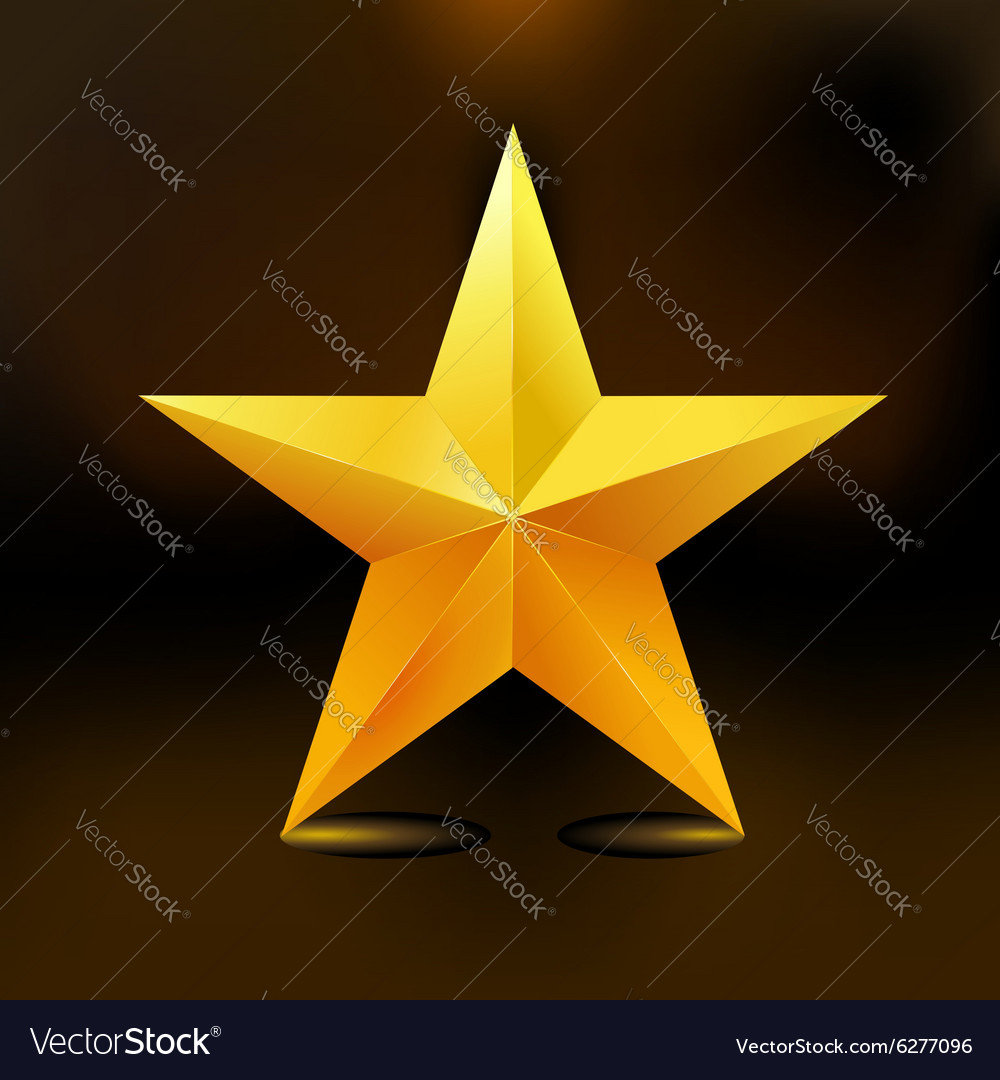 Single golden star shine on dark background