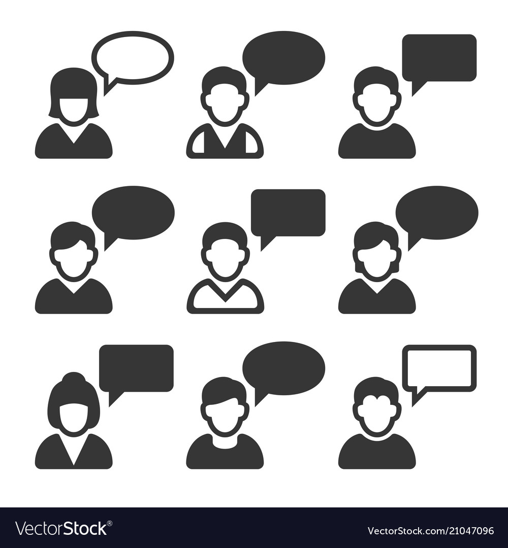 Speaking people avatars chat icons set