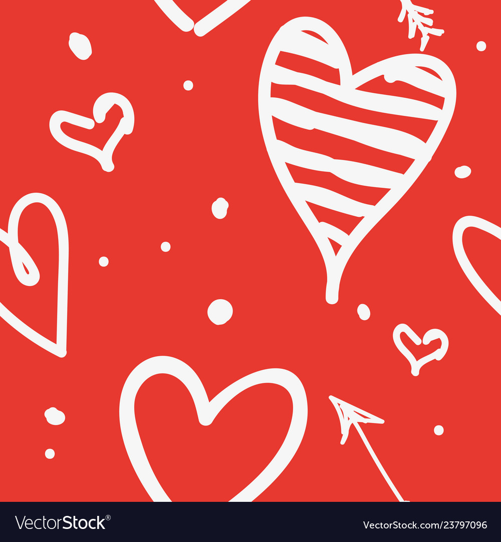 White draw heart on red background use how