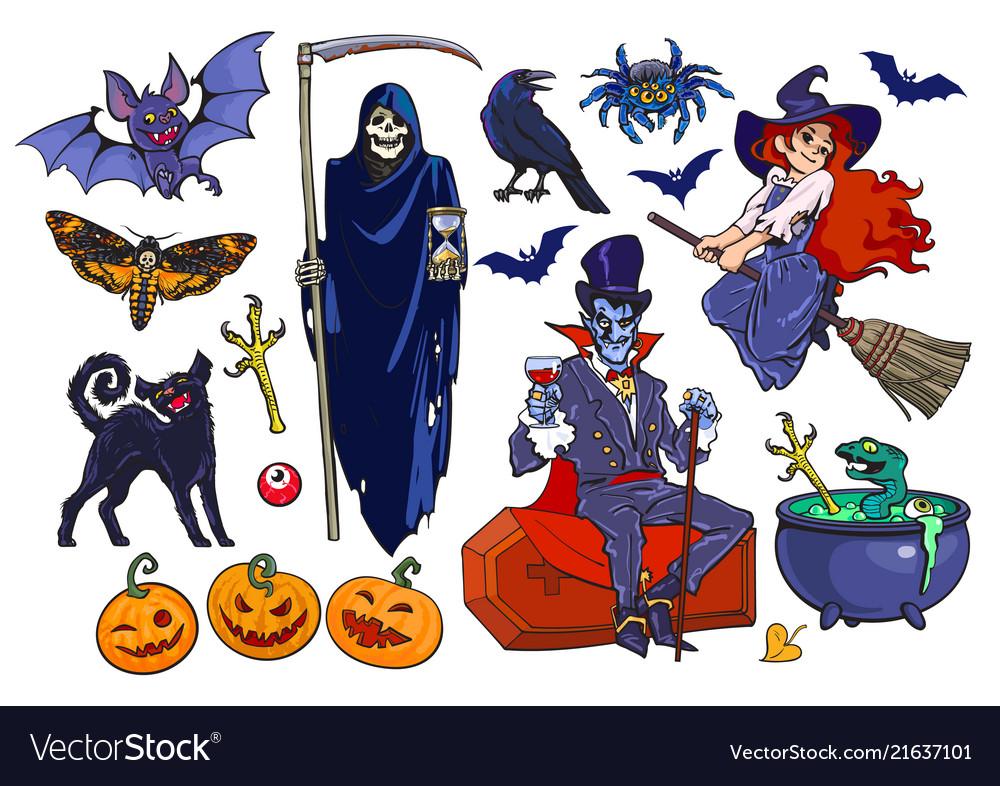 Big set of halloween cartoon characters and