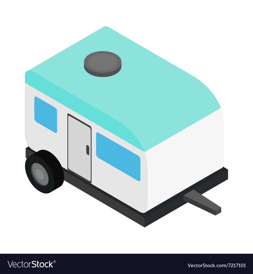 Camping trailer 3d isometric icon