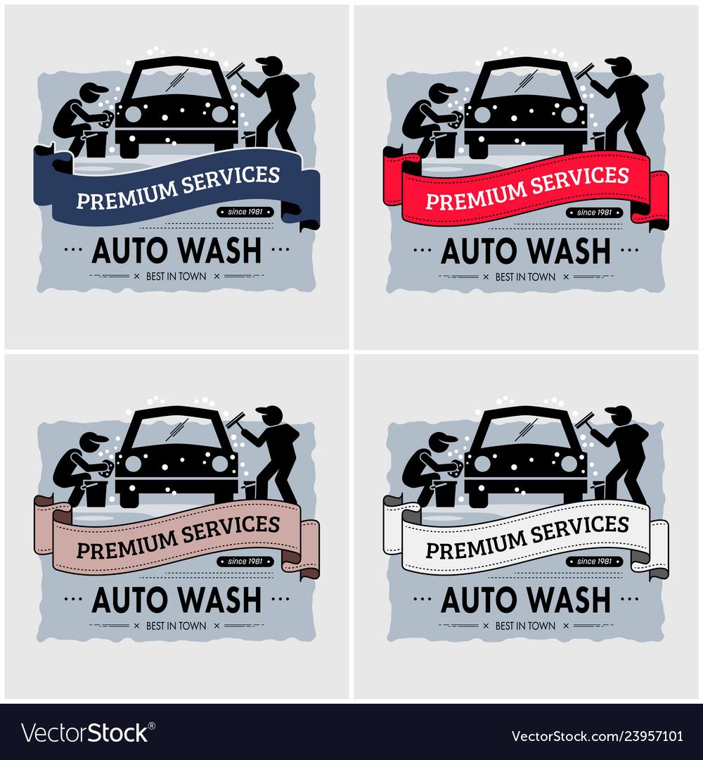 Car wash logo design artwork of workers washing