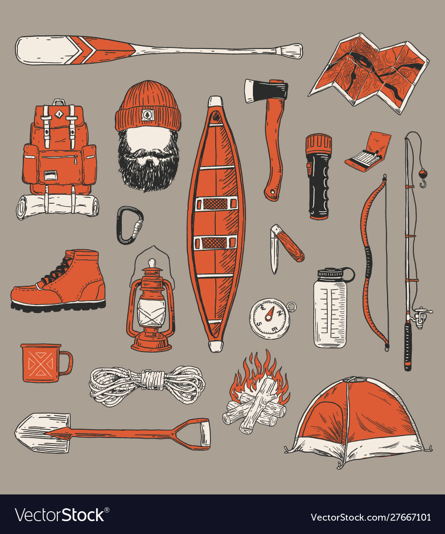 Collection vintage outdoor camping and recreati