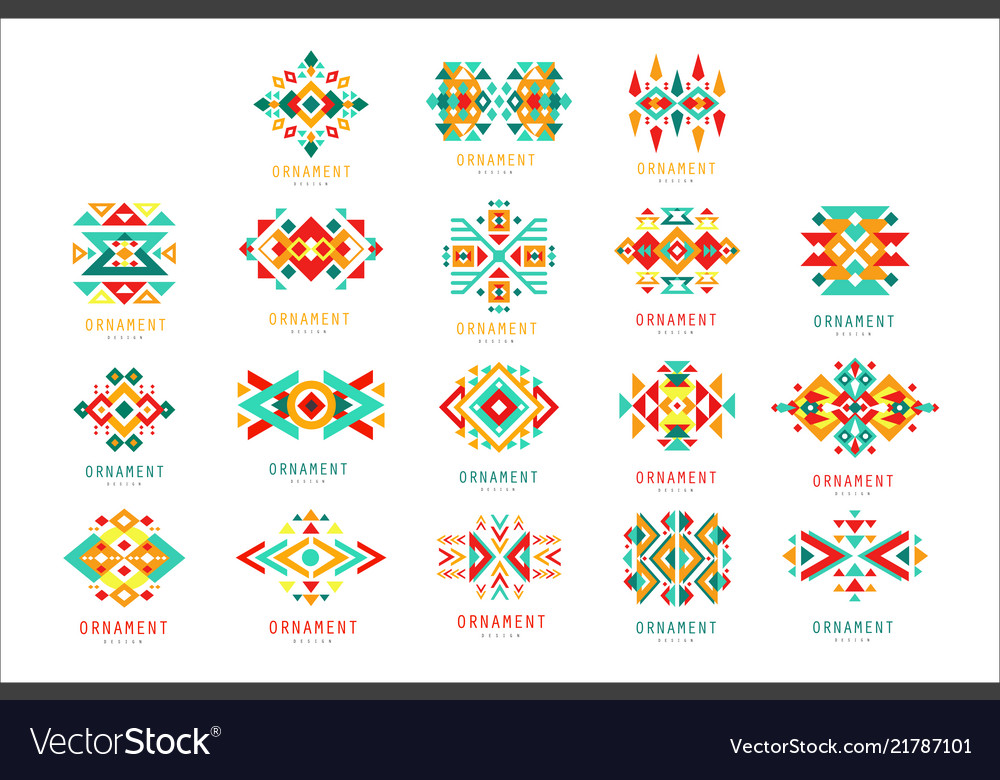 Colorful geometric ornament set abstract logo