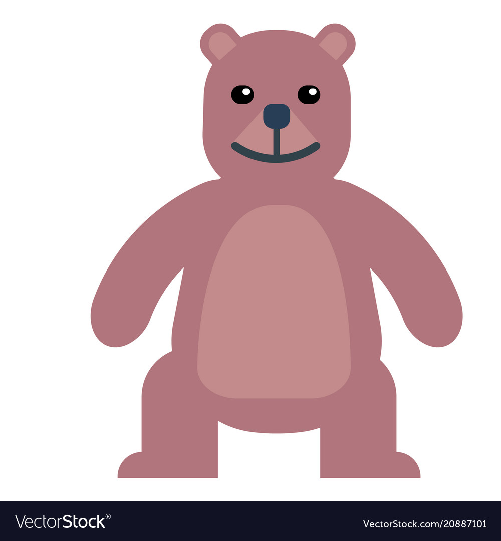 Cute happy brown bear standing with isolated vector image