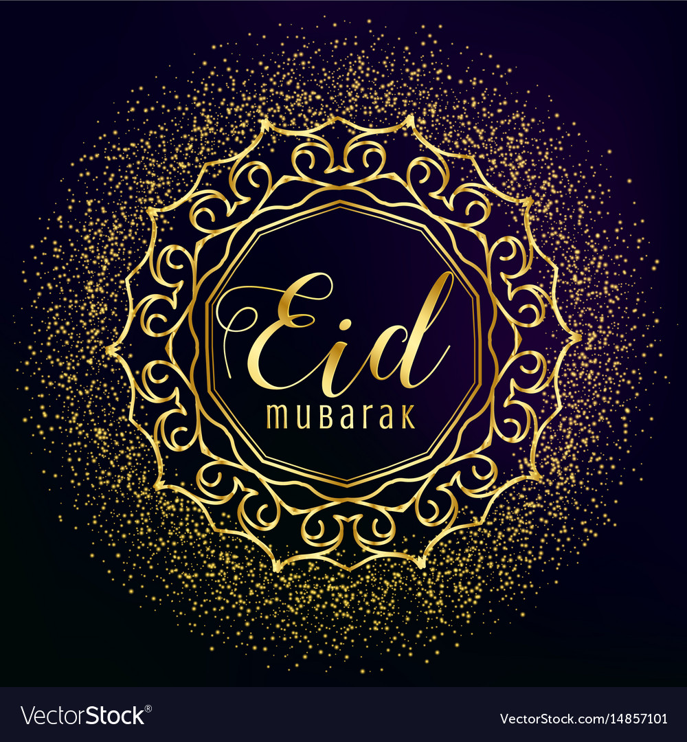 eid mubarak greeting with golden mandala vector image