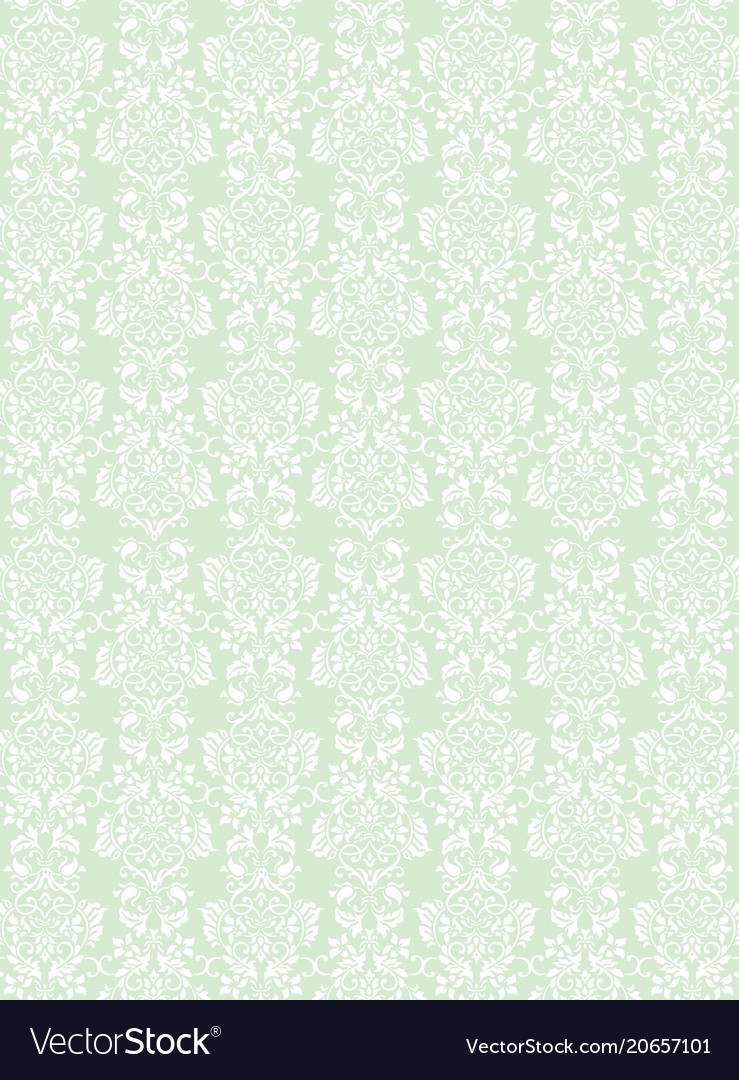 Elegant white flowers pattern textured green