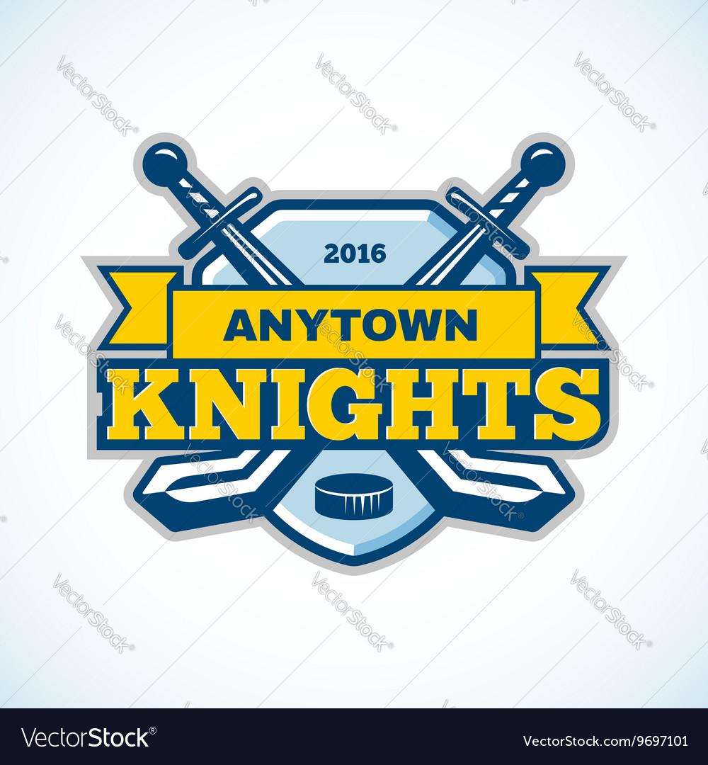 Ice hockey knights team logo shield template vector image