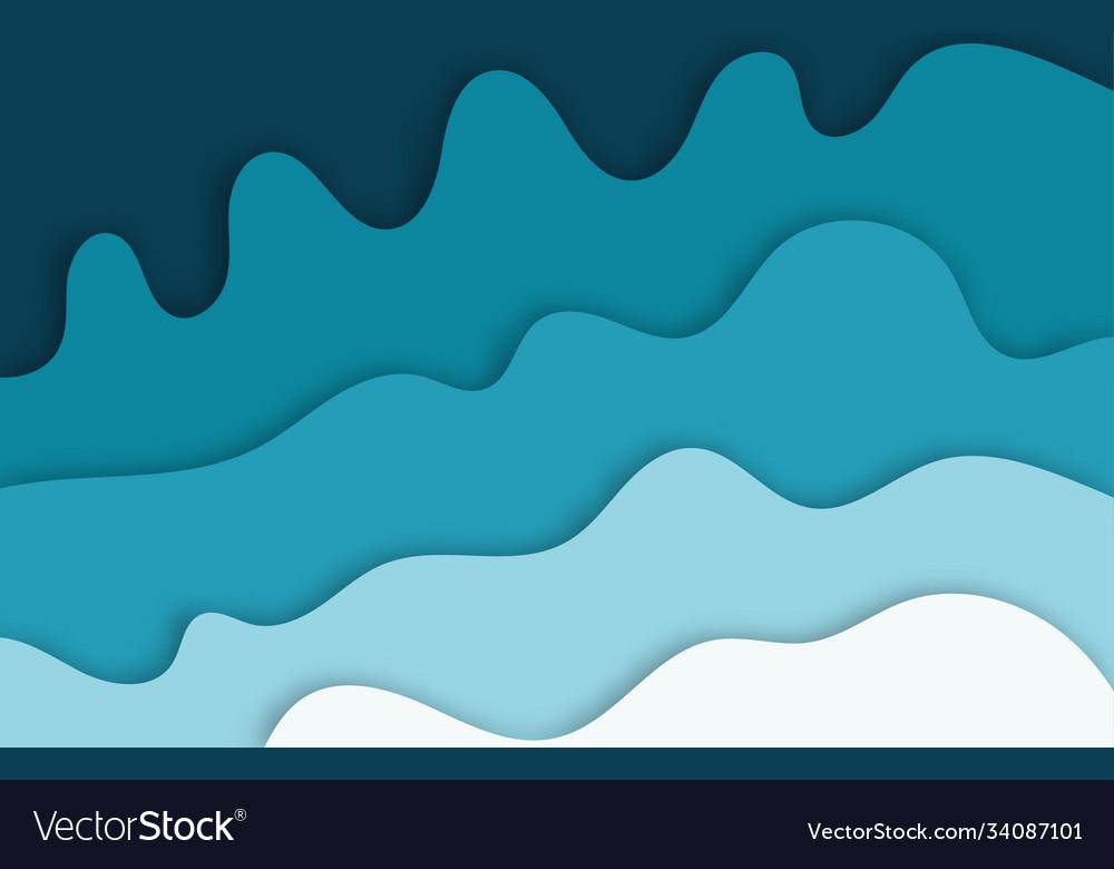 Multi color paper layers 3d papercut on blue