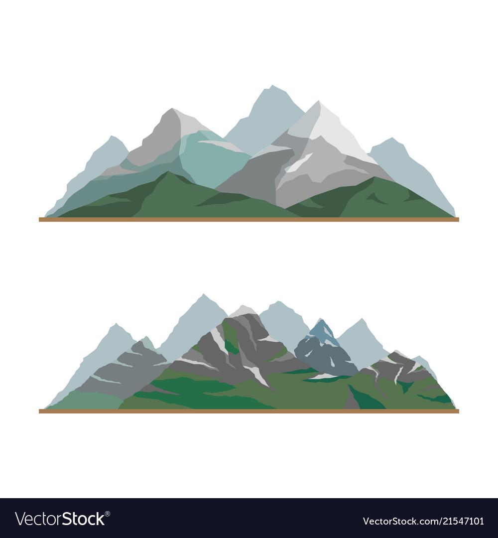 Nature mountain silhouette elements setoutdoor