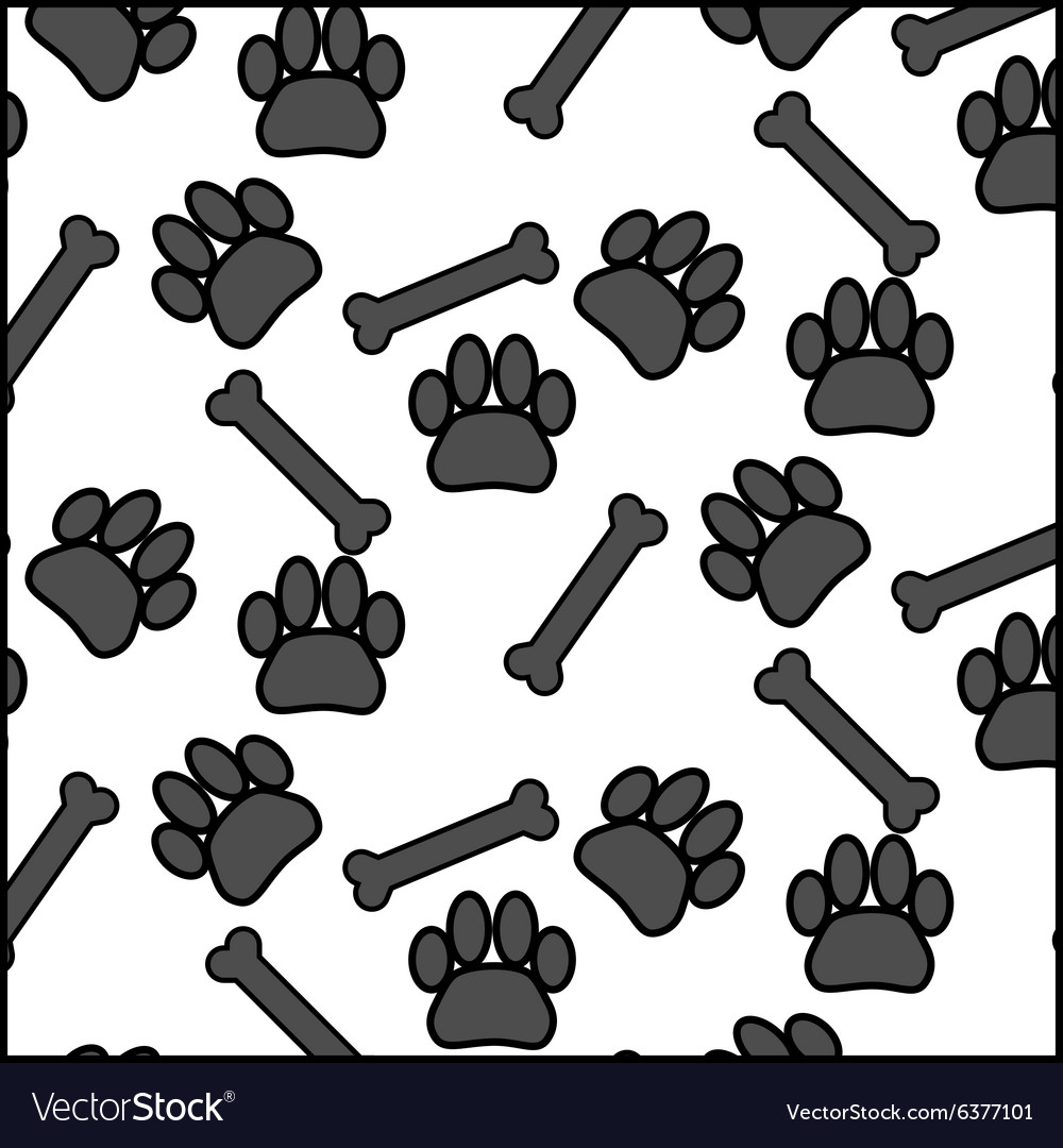 Seamless patter foot print dog and bone