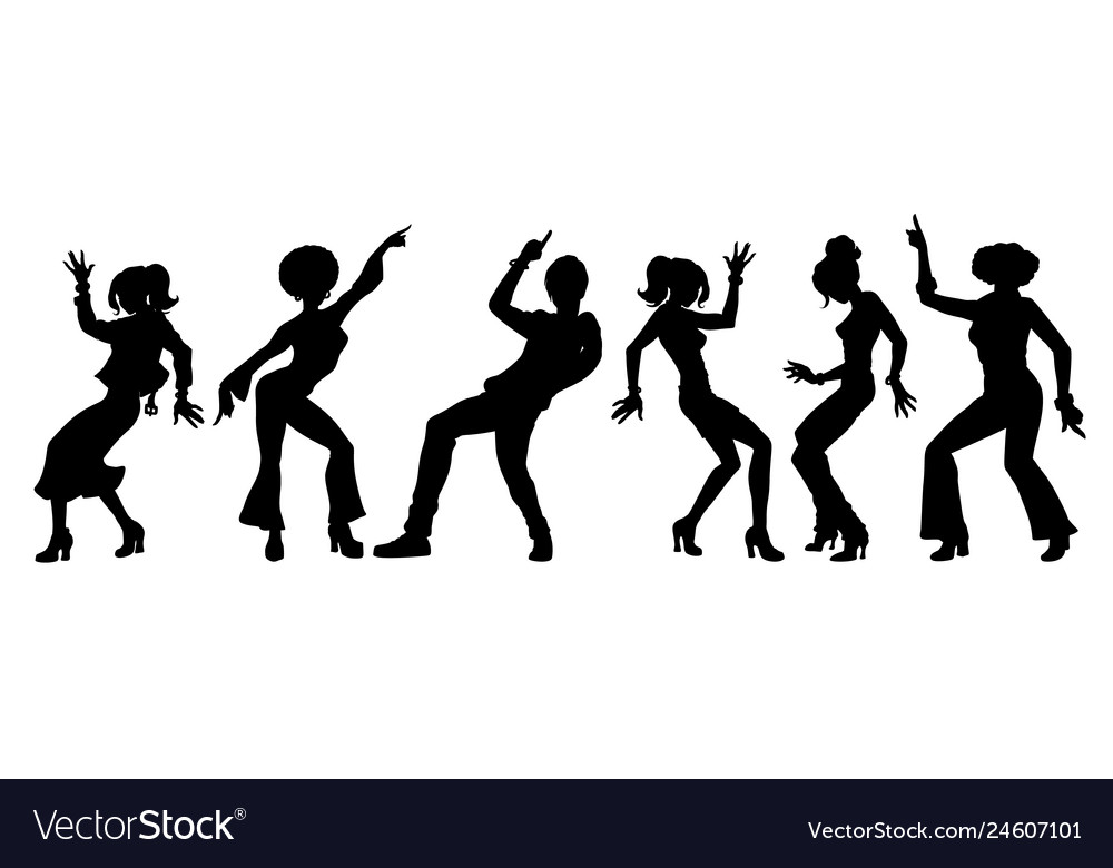 Silhouettes collection set young people dancing