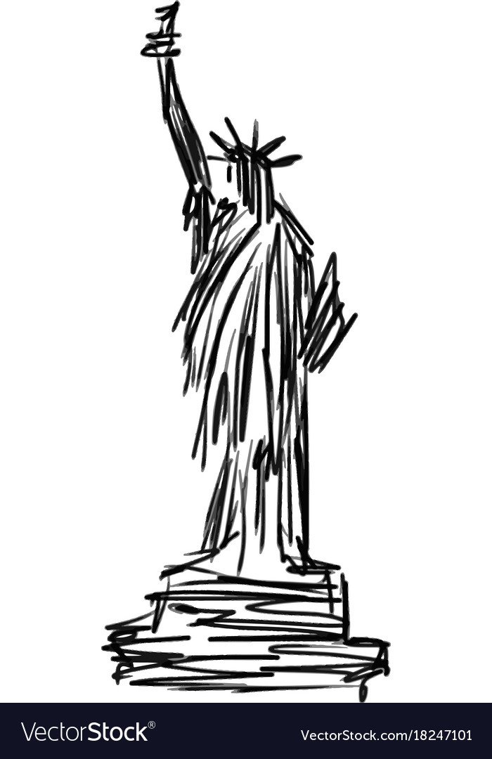 Statue of liberty sketch hand drawn