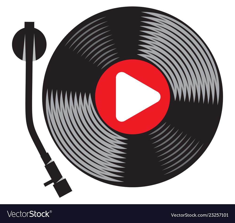 Symbolic gramophone with vinyl record retro dj