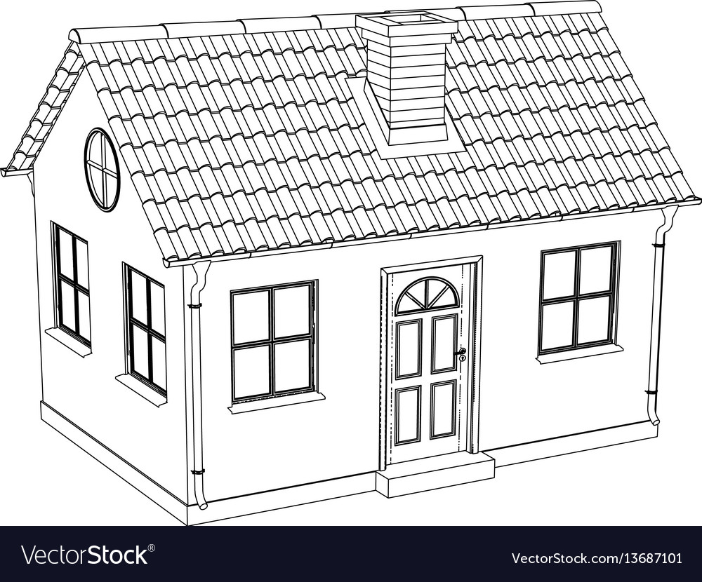 Wire-frame house Royalty Free Vector Image - VectorStock