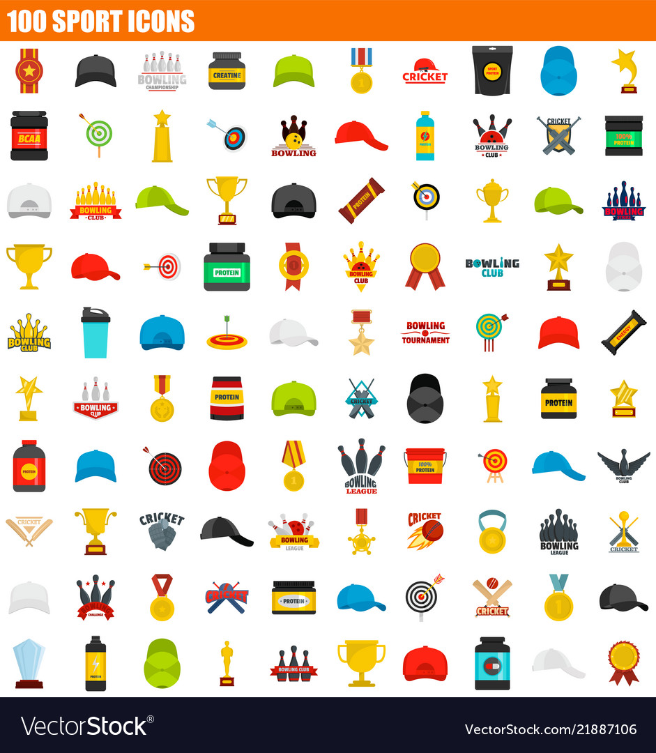 100 sport icon set flat style