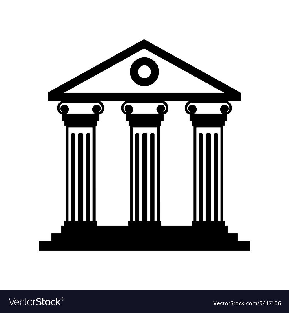 Black historical building icon vector image