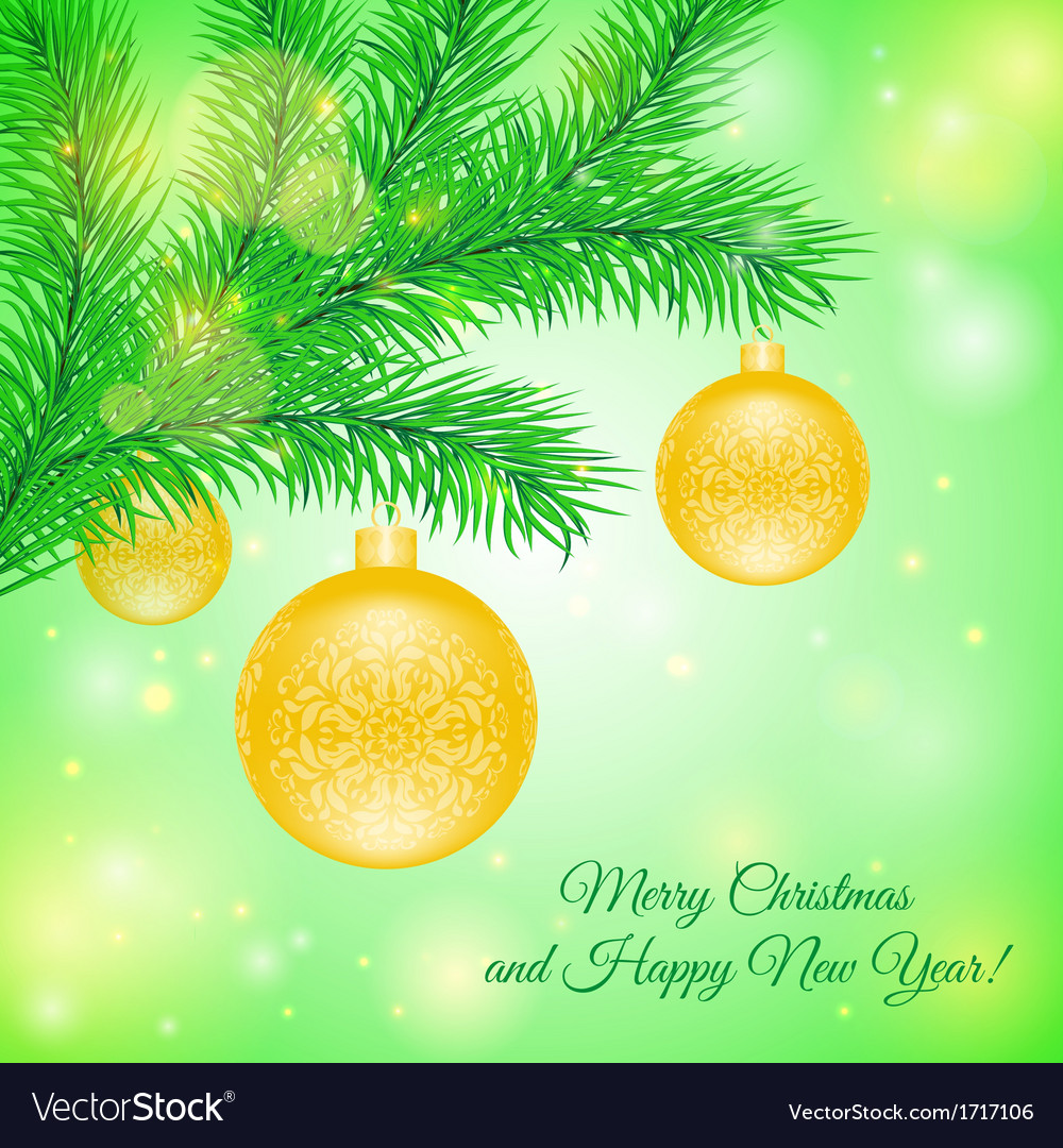 Christmas tree branch with Christmas toys vector image