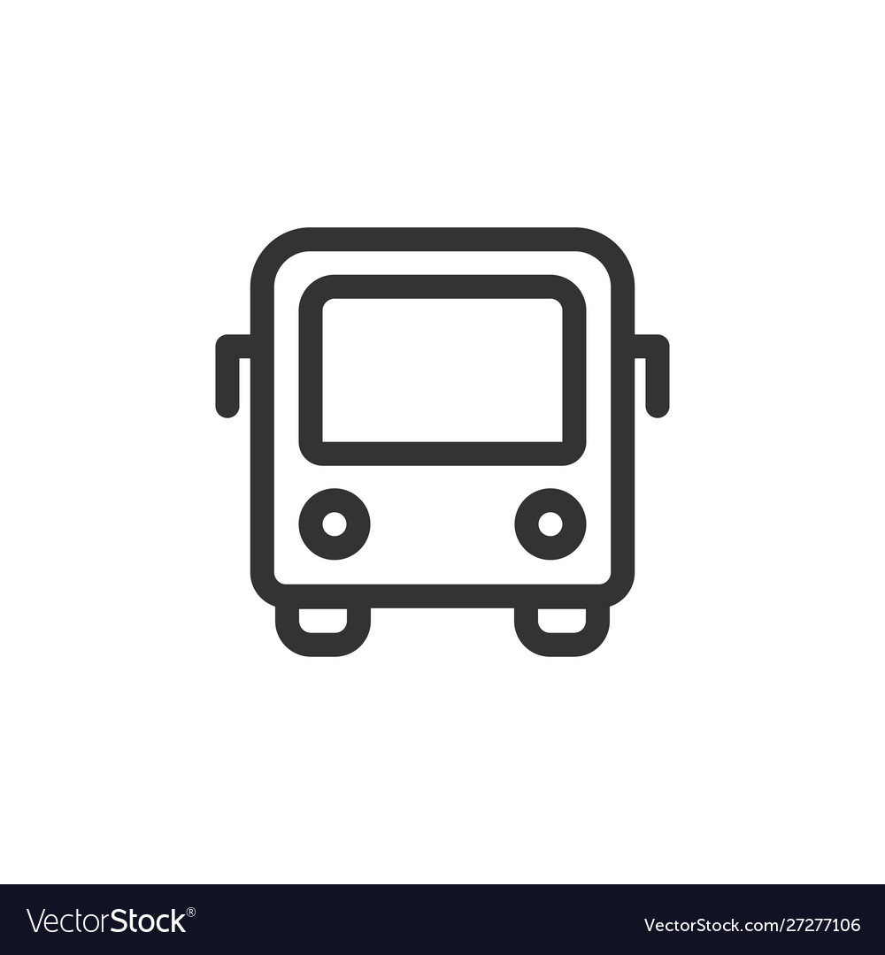 City bus front view outline style icon