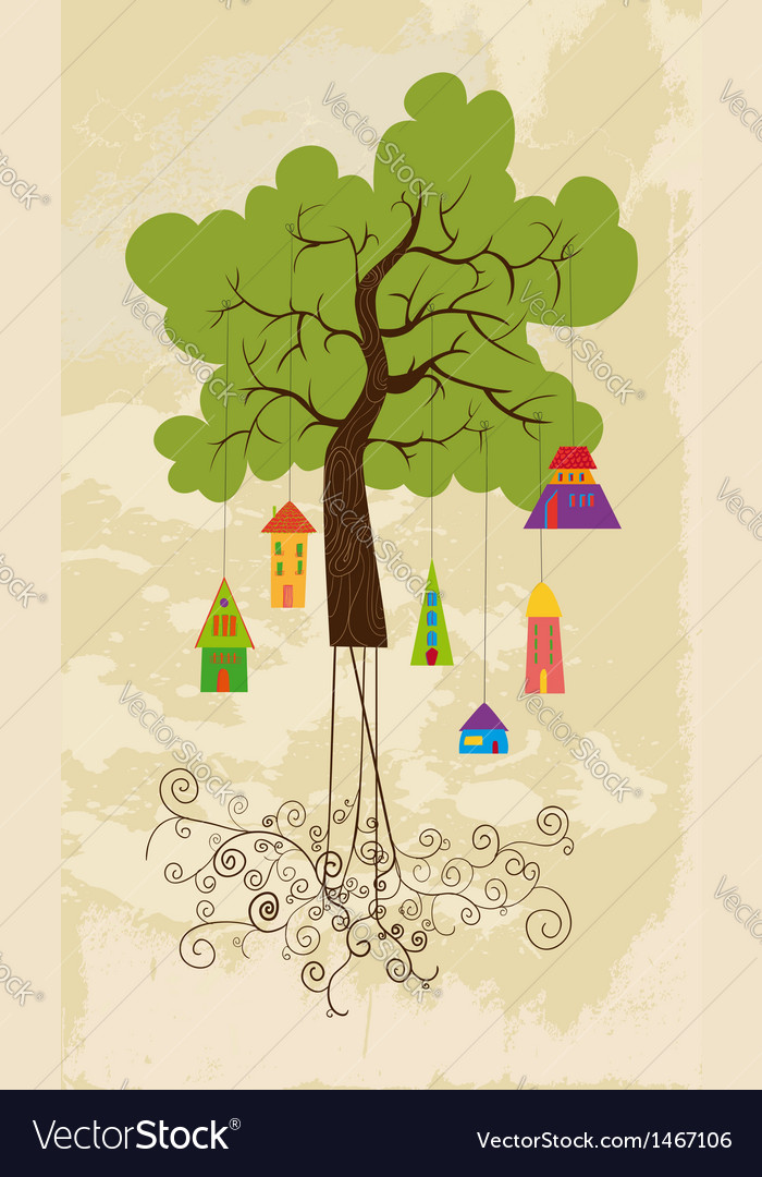 Cute colorful tree bird house