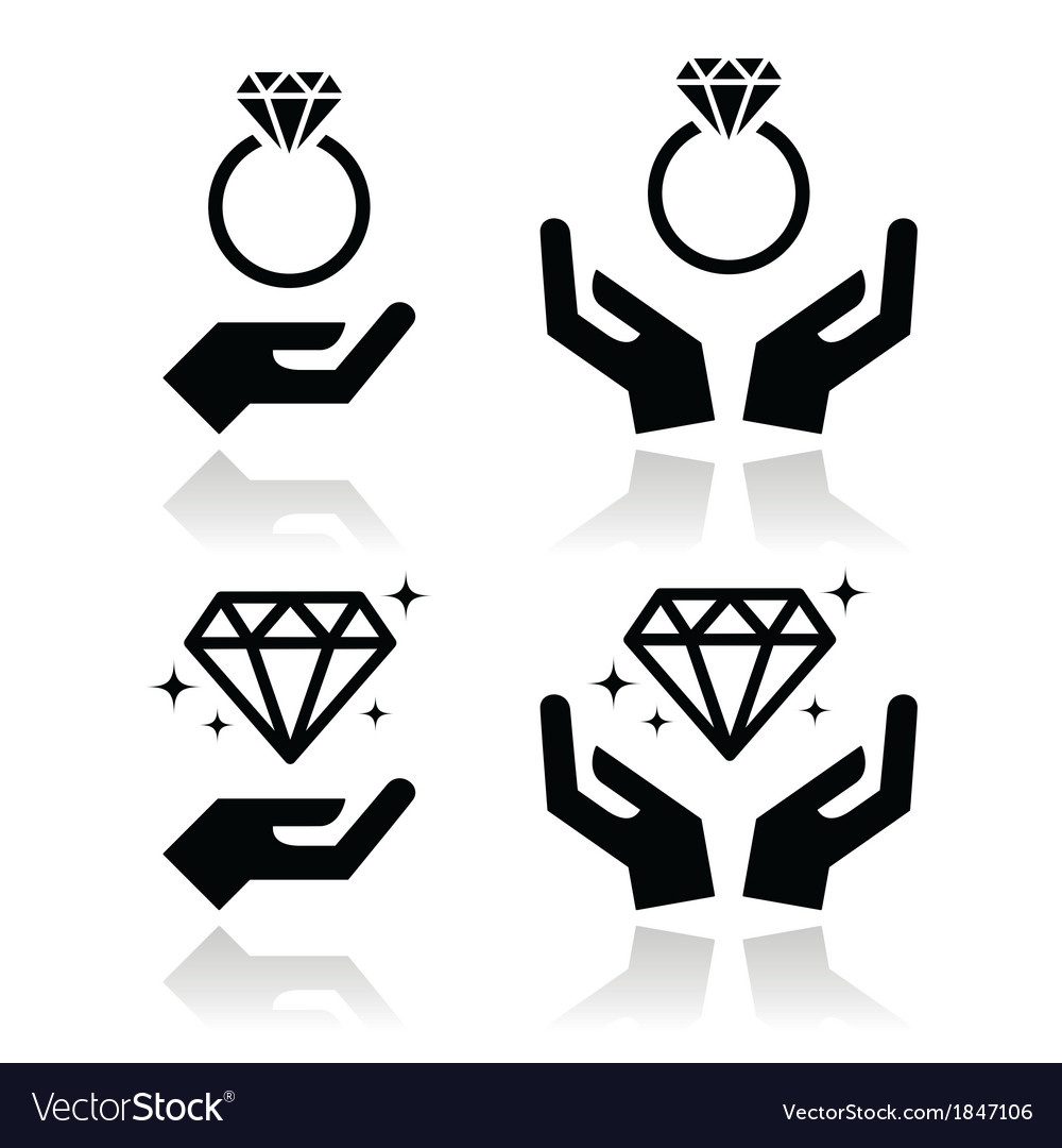 Diamond engagement ring with hands icon
