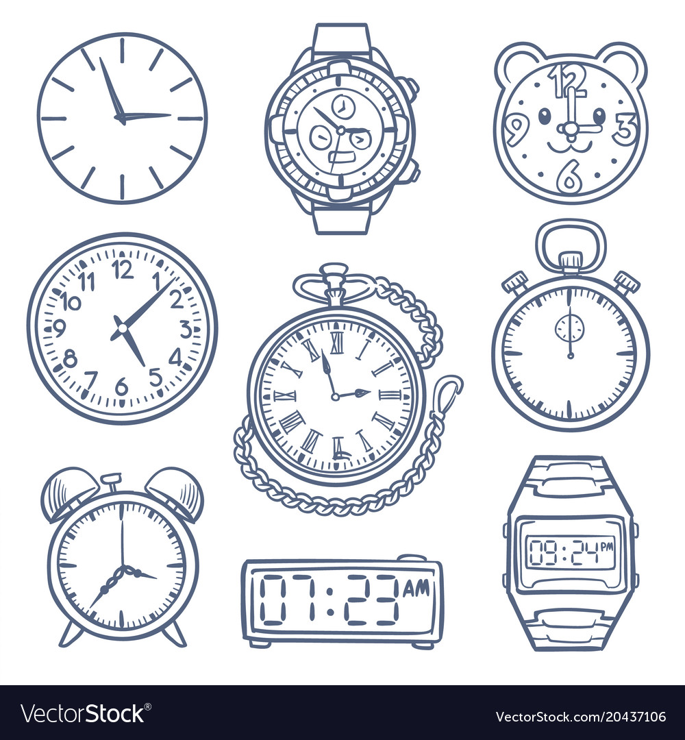 Doodle watch clock icons hand drawn time
