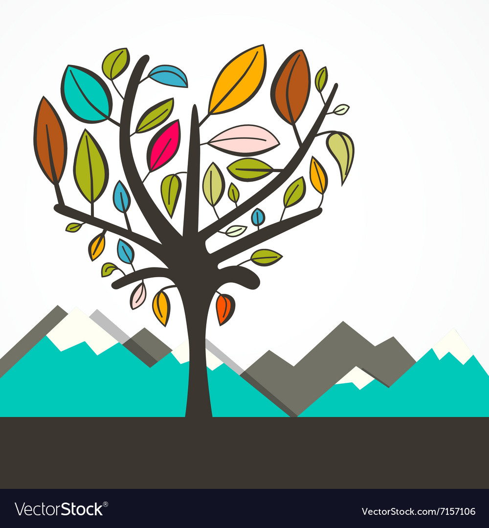 Heart Shaped Tree with Colorful Leaves Flat Design