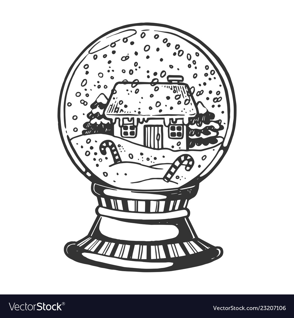 ef11c3ec00dd House glass sphere engraving Royalty Free Vector Image