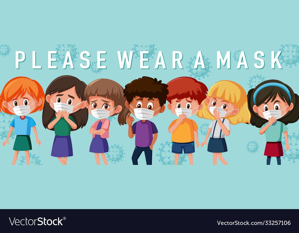 Kids wearing mask template