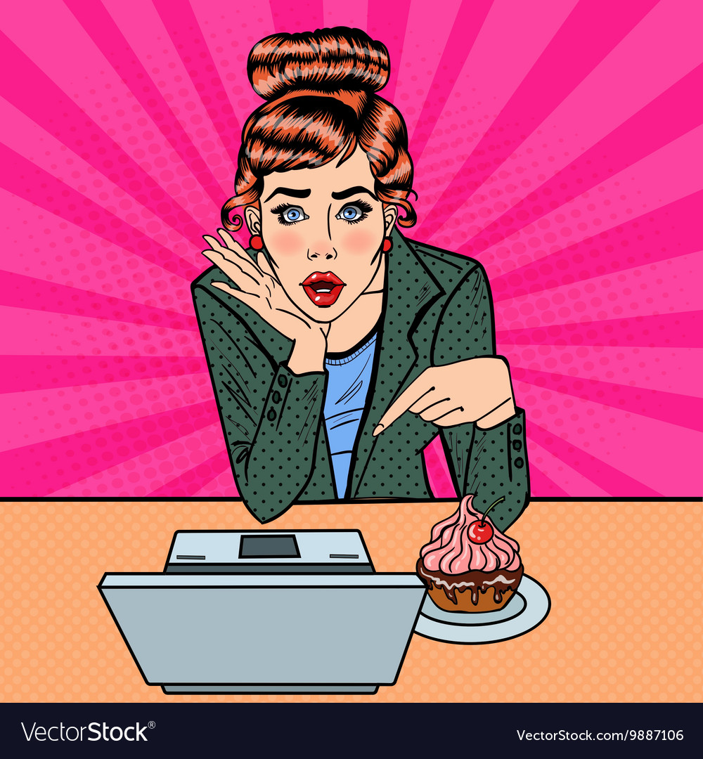 Surprised Woman Pointing on the Laptop Pop Art vector image