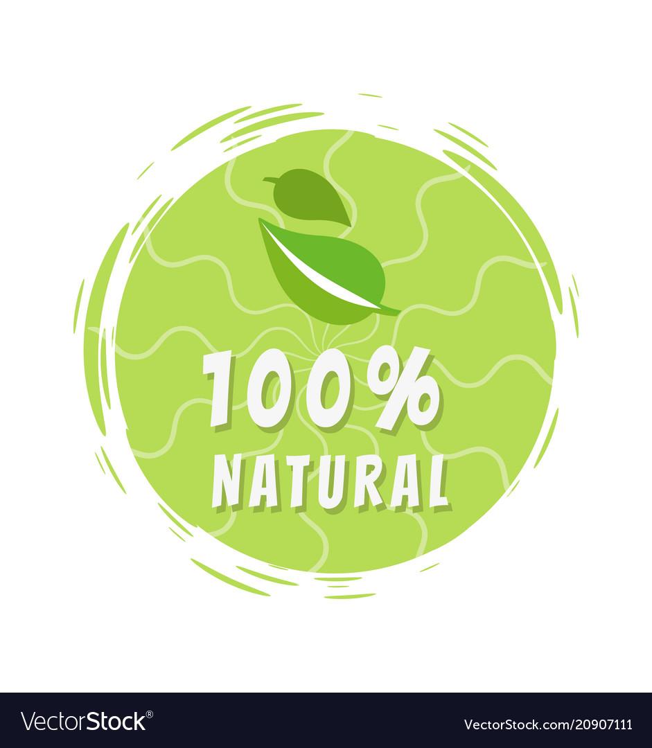 100 natural green eco label design round sticker