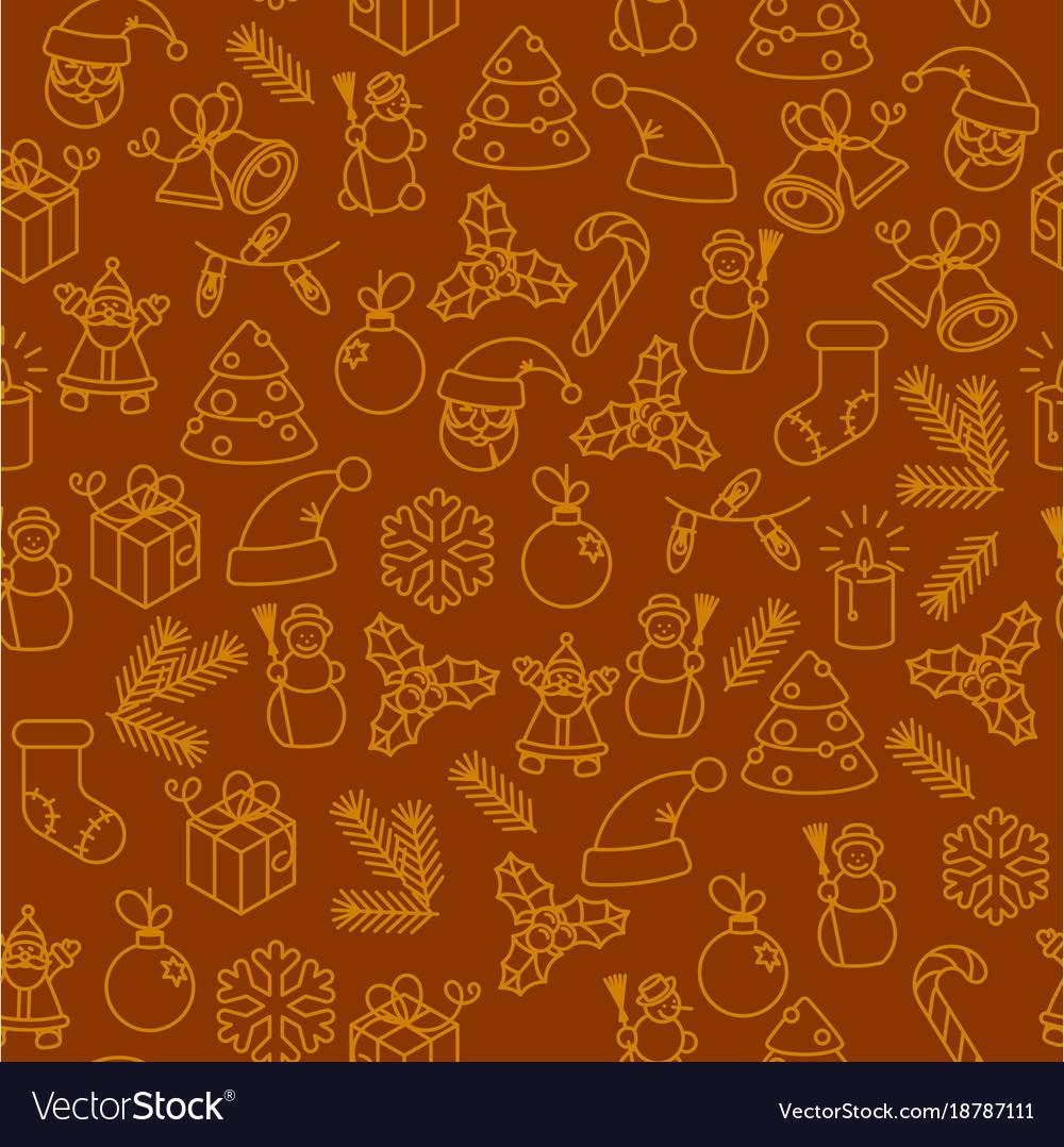 Christmas thin line icon seamless pattern