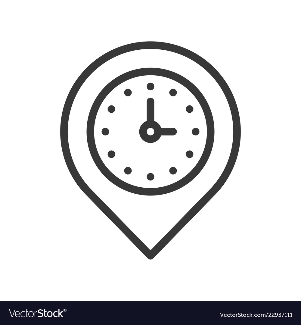 Clock and pin place location and timer icon