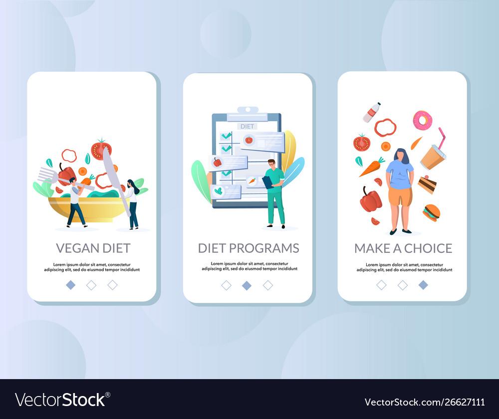 Diet mobile app onboarding screens template