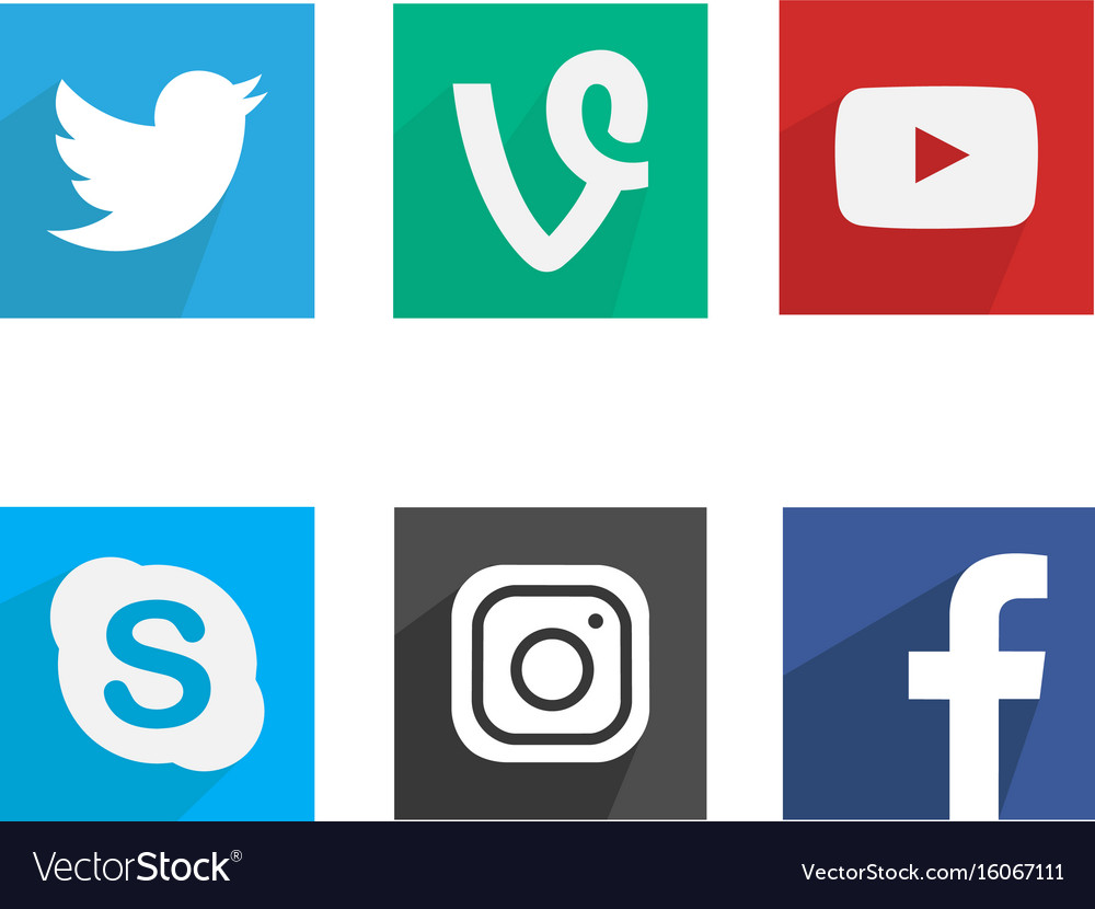 Flat Social Media Icons Royalty Free Vector Image