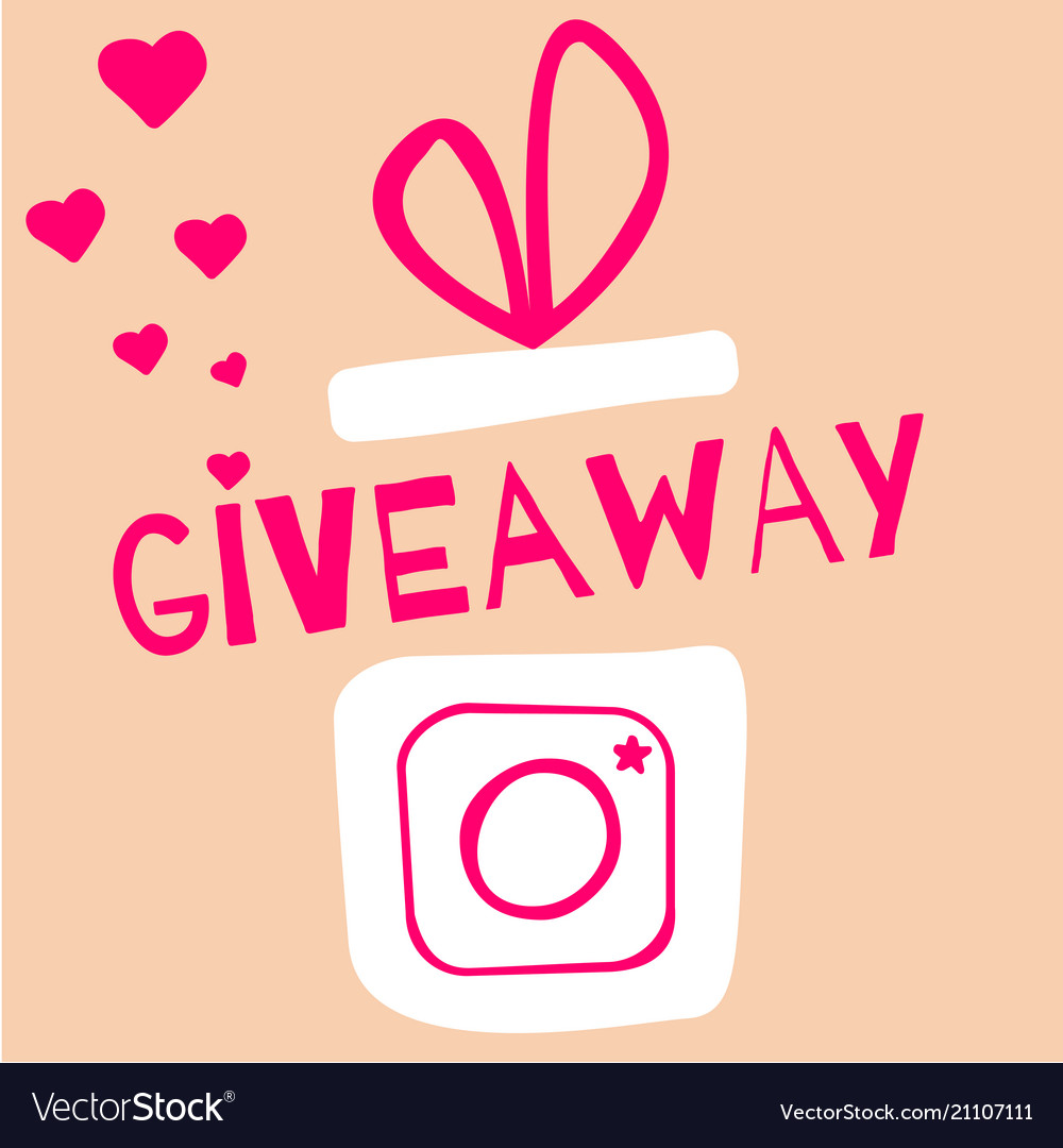 Giveaway contest gift box with camera icon