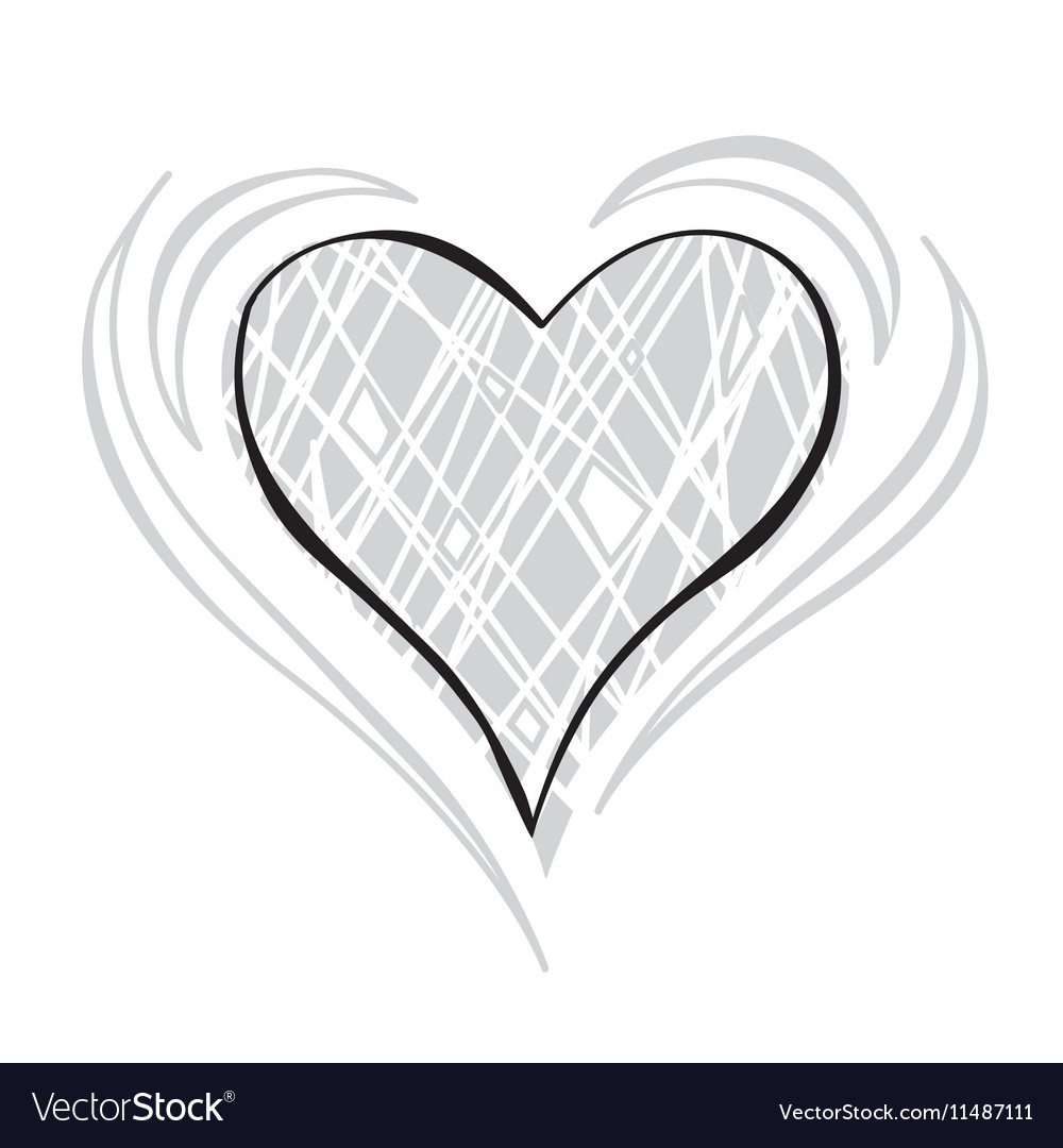 Gray scale Heart vector image