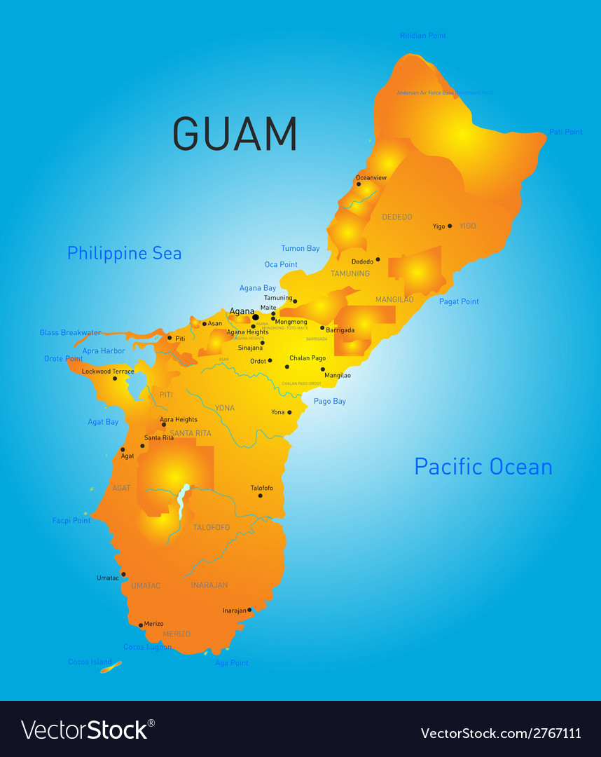 Guam map Royalty Free Vector Image - VectorStock