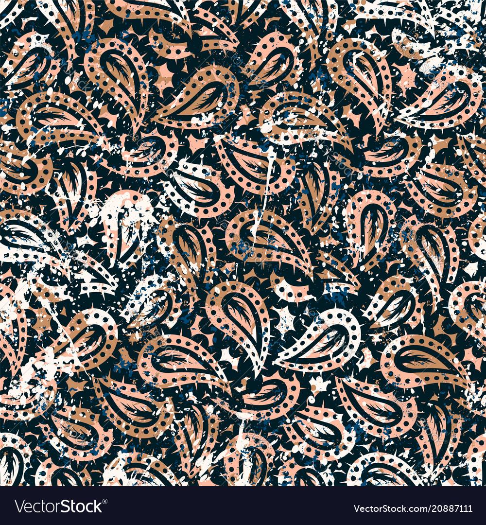 Hand drawn paisley seamless pattern