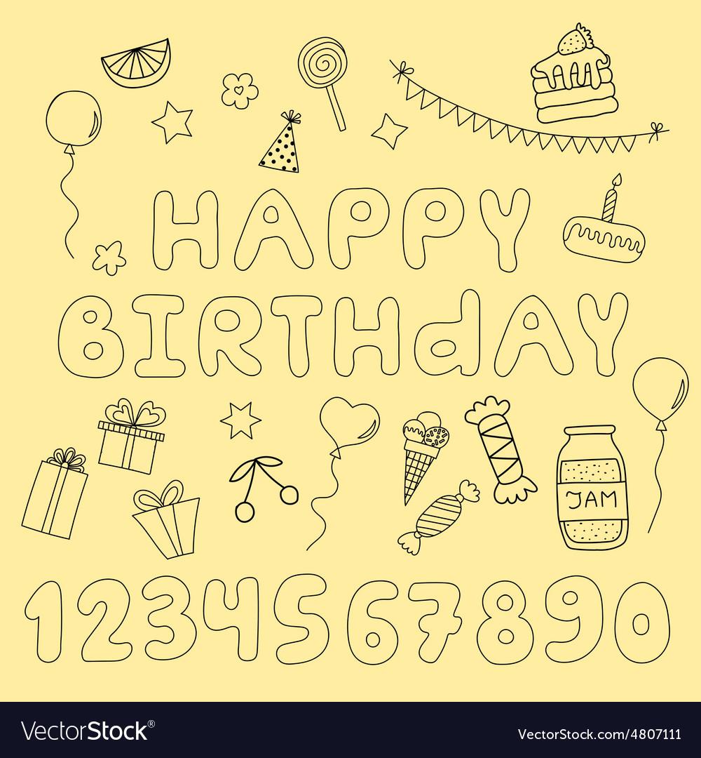 Hand drawn set with birthday cake balloons gift
