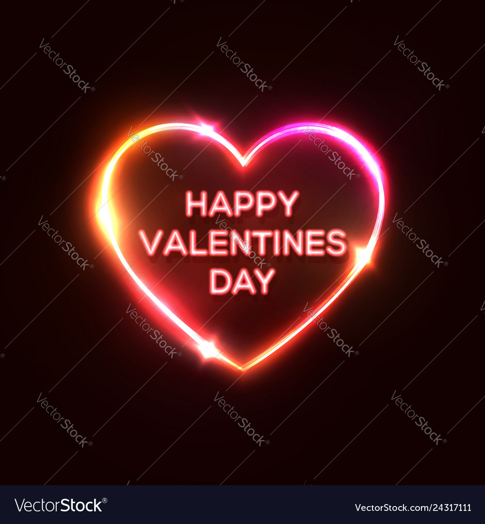 Happy valentines day text heart shaped neon sign
