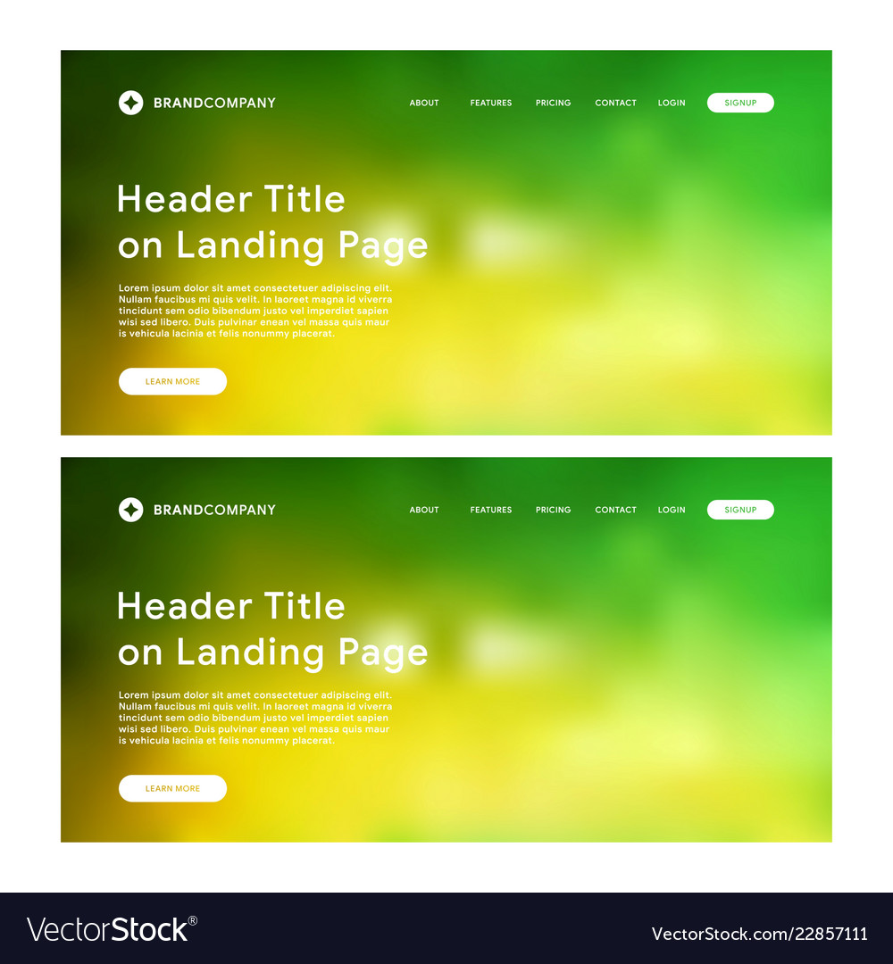 Header of landing page with green and yellow