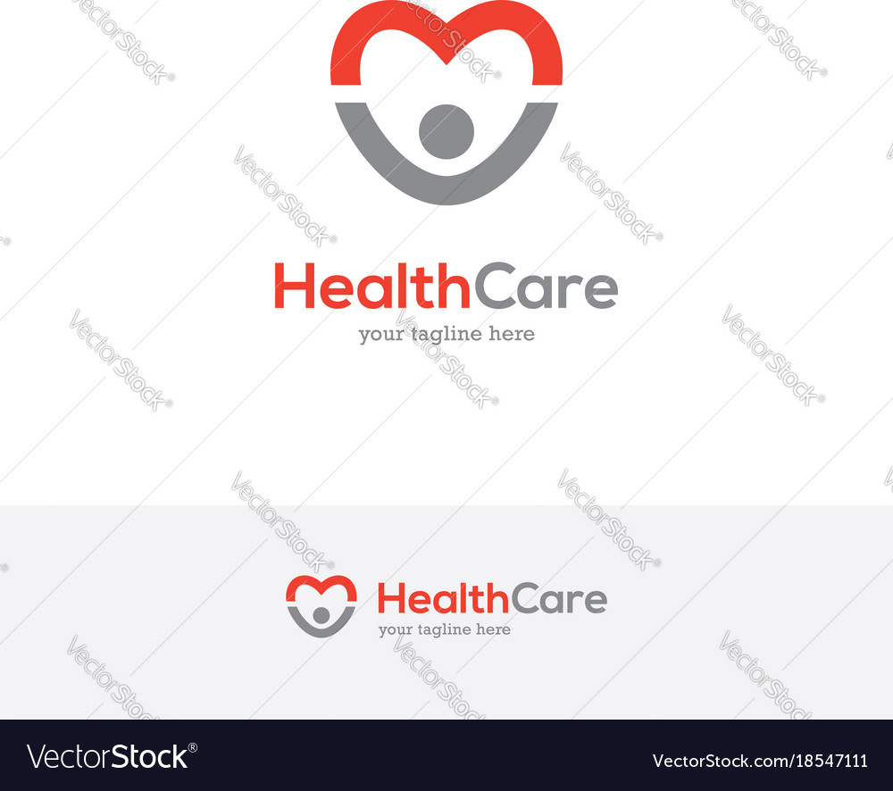 Heart logo with happy man silhouette vector image