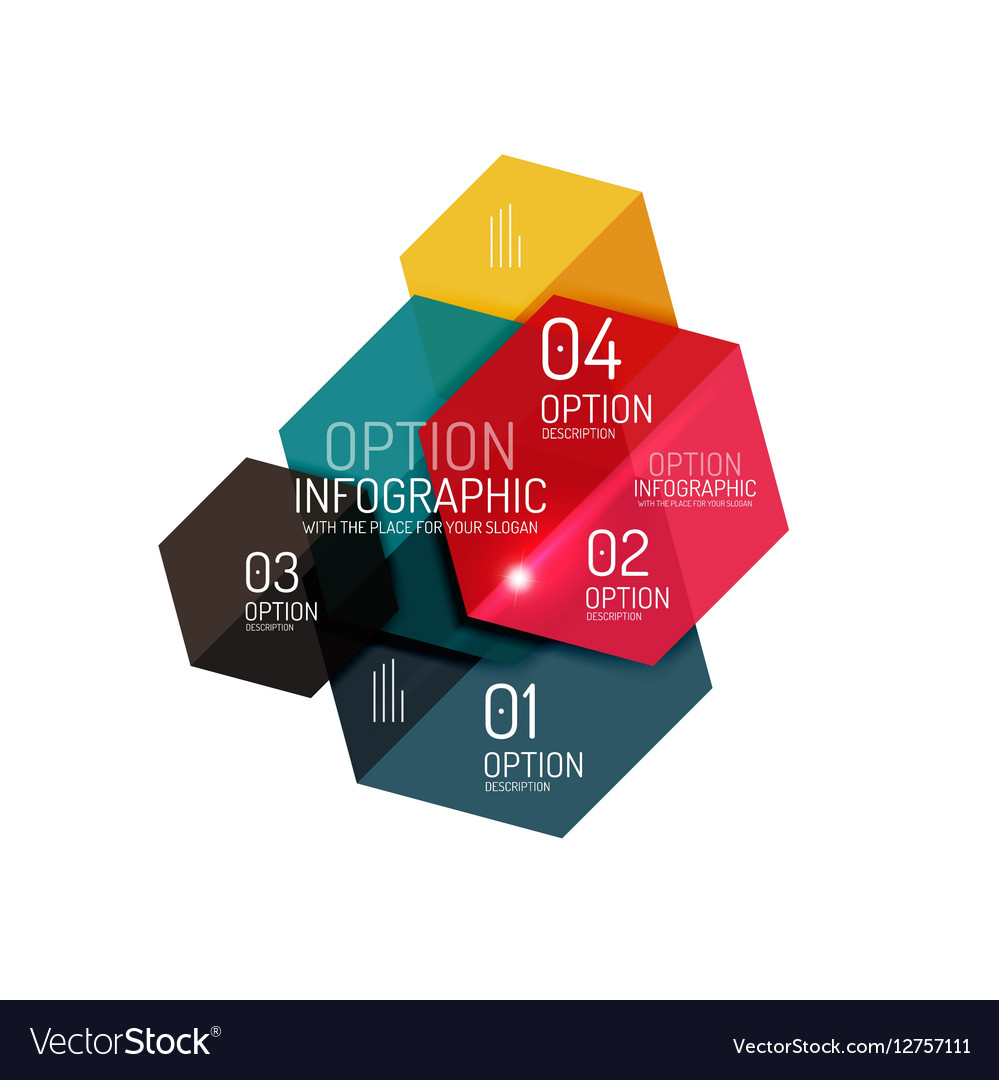 Hexagone infographic diagram templates Royalty Free Vector