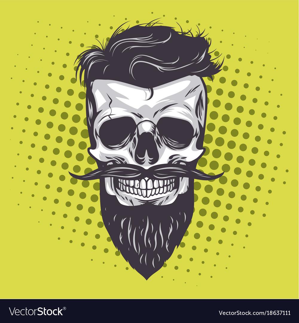 Hipster skull pop art