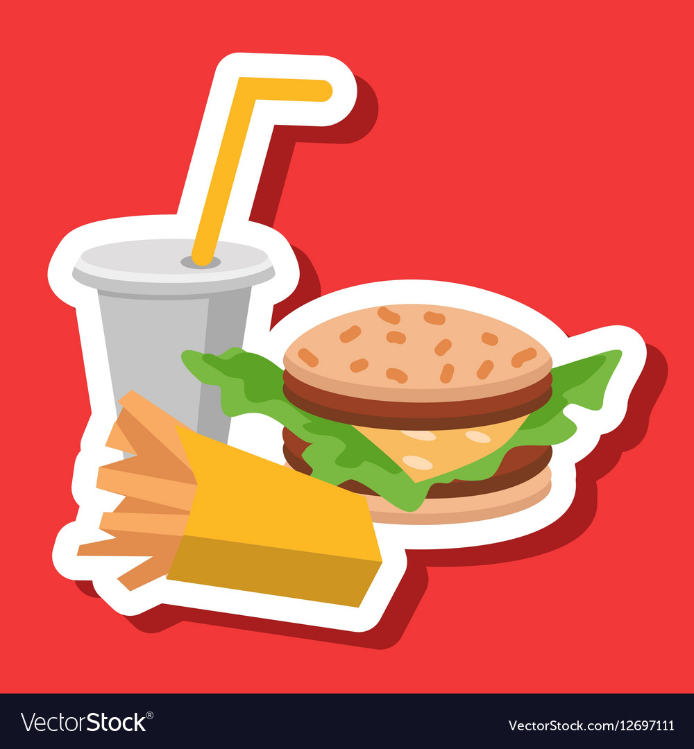 Lunch french fries burger and soda Flat design vector image