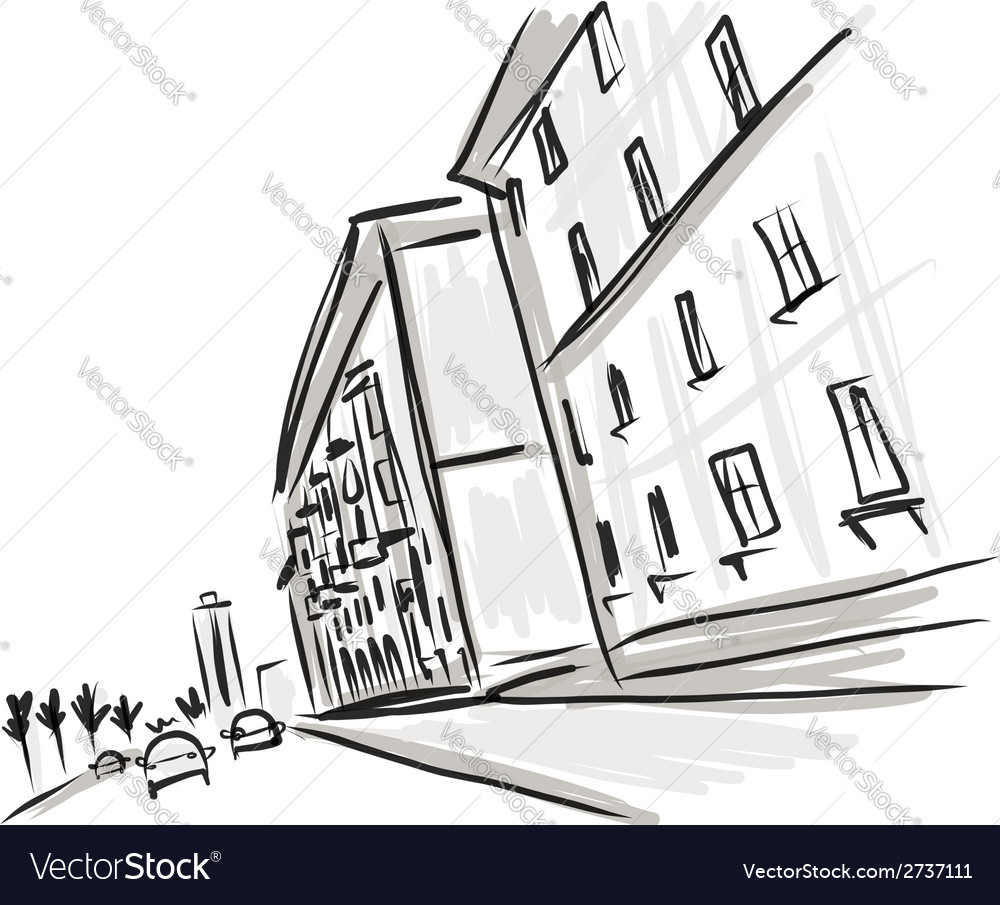 Old district sketch with city road for your design vector image