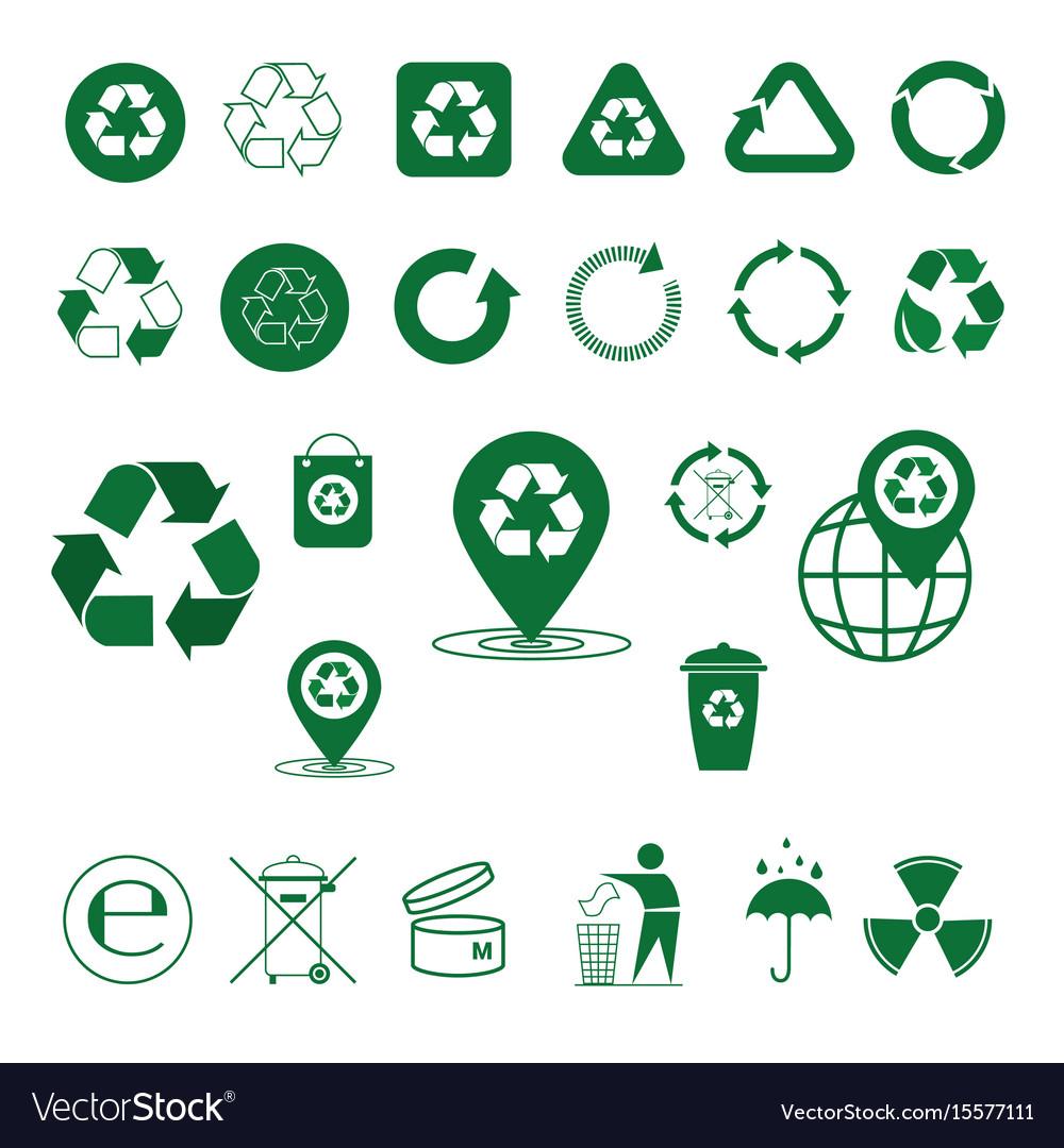 Recycle waste symbol green arrows logo set web