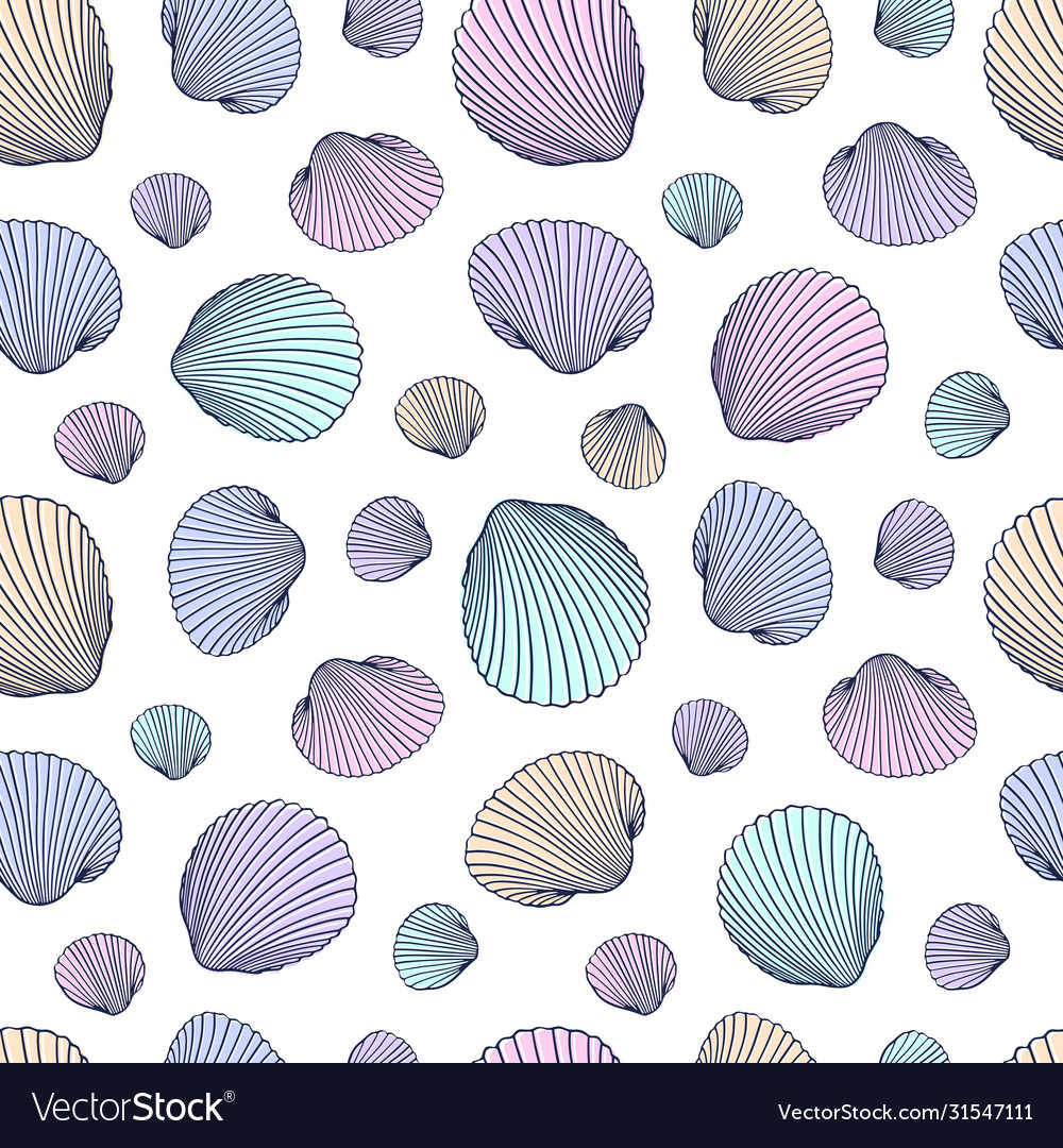 Seamless shell pattern hand drawn seashells in