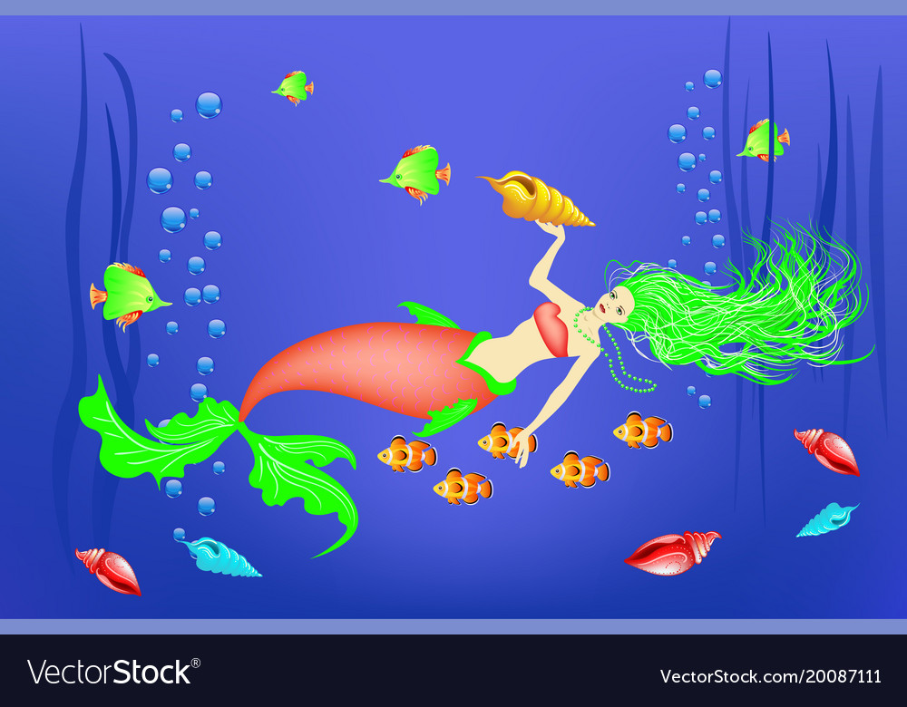 Underwater world little mermaid fishes